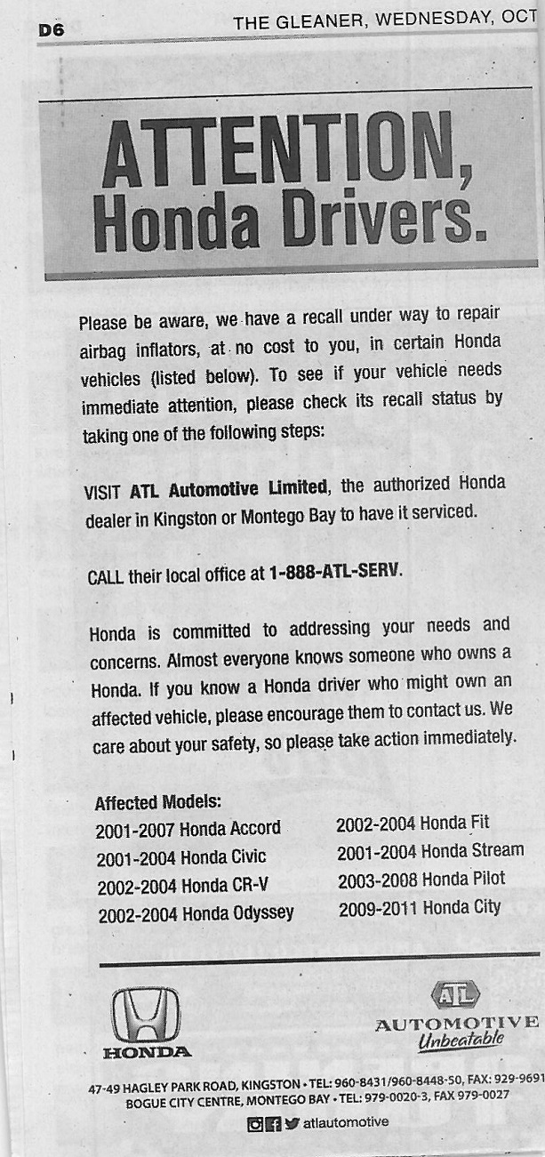 RECALL: HONDA AIRBAG INFLATORS ATL published in Gleaner Oct 7, 2015